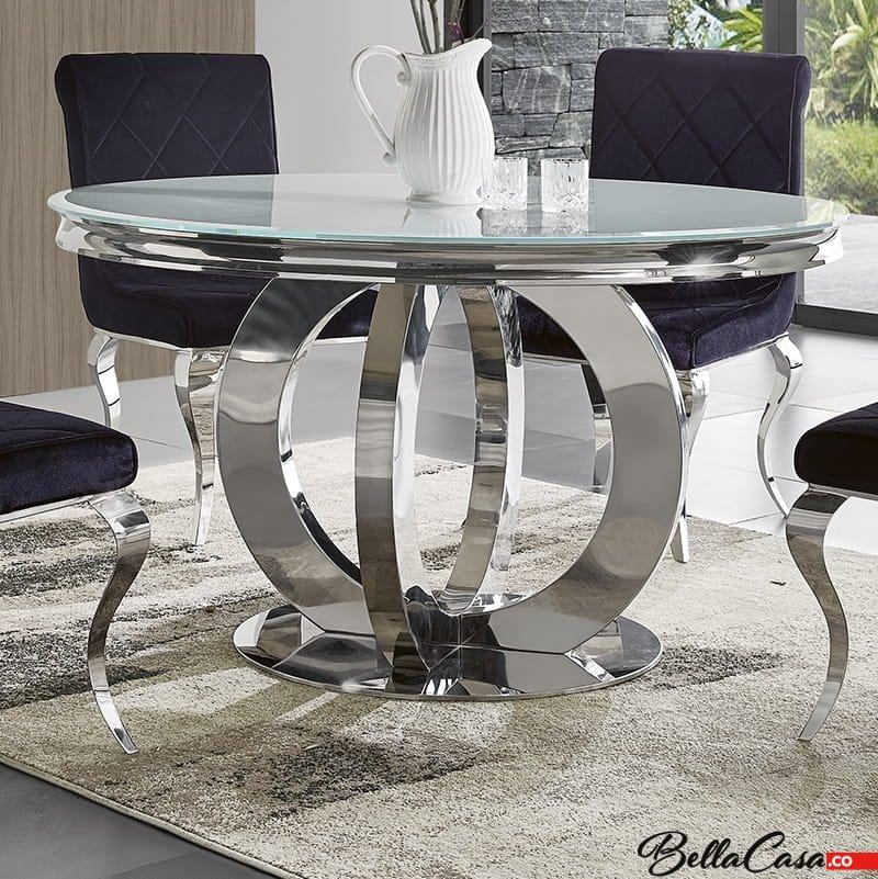 Barock Esstisch Dallas Ii Rund Glasplatte Modern Barock Tisch