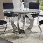 Dallas glamor table round - polished stainless steel, stone top