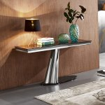 Console table Dorado - steel modern glamour glass top (1)