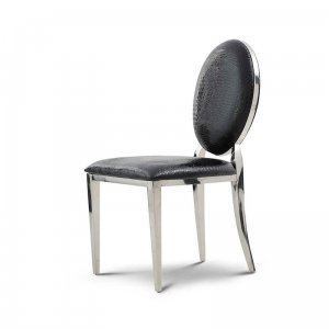 Chair glamor Ludwik Black Croco - modern upholstered chair with eco-leather