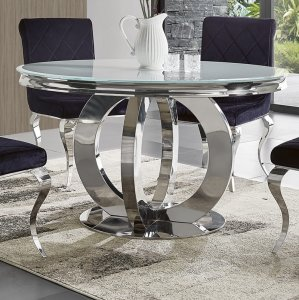 Glamor table Dallas II round - stainless steel, glass top