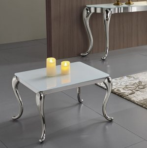 Side table Orlando - steel modern glamour glass top