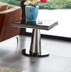 Side table Dorado - satinated steel modern glamour stone top