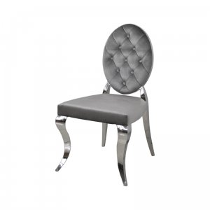 Chair glamor Leonardo Dark Grey - modern chair quilted with buttons