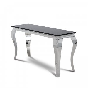 Console table Ludwik - steel modern glamour stone top