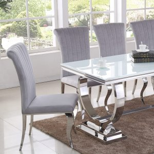 Modena dining room table – steel, glass tabletop modern glamour