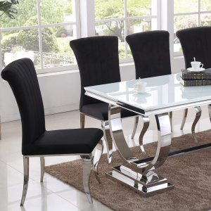 Modena dining table – steel, glass tabletop modern glamour