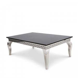 Coffee table London - steel modern glamour stone top