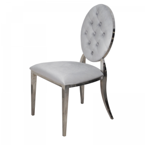 Chair glamor Ludwik Silver - modern chair quilted with buttons