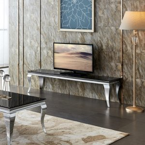 Audio and video console table Ludwik - steel modern glamour glass top