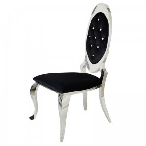 Chair glamor Victoria Black - modern chair upholstered with crystals