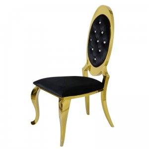 Chair glamor Victoria Gold Black with crystals - polished gold steel