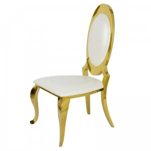 Chair glamor Victoria Gold White Eco - modern chair upholstered with eco-leather