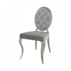 Chair glamor Leonardo Silver - modern chair quilted with buttons