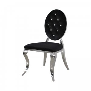 Chair glamor Ludwik II Black - modern chair quilted with crystals