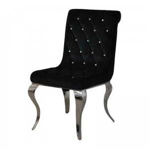 Chair glamor Hamilton Black - modern chair quilted with crystals