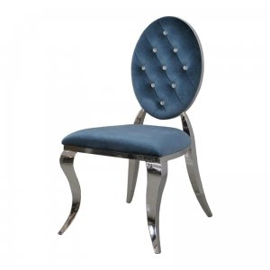 Chair glamor Ludwik II Blue - modern chair quilted with crystals