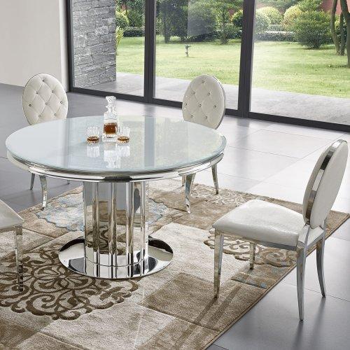 Esstisch modern rund  Barock Esstisch Retford II rund - Glasplatte, modern barock Tisch